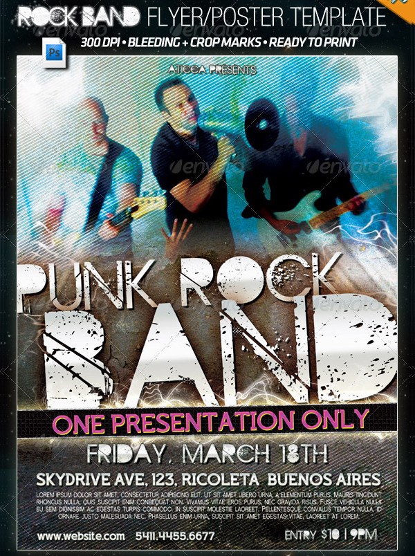Punk Rock Band Flyer PSD Template