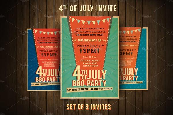 Retro BBQ Invitation Flyers