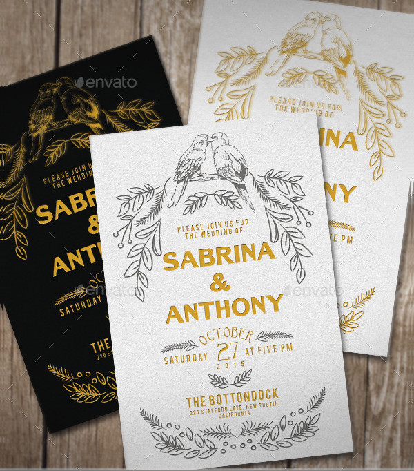 Retro Rustic Wedding Invitation