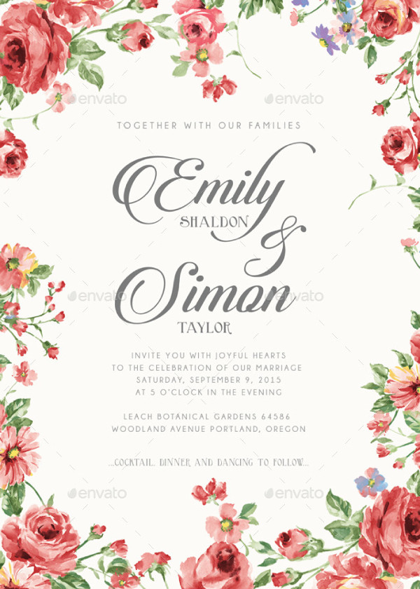 Rustic Floral Classic Wedding Invitations