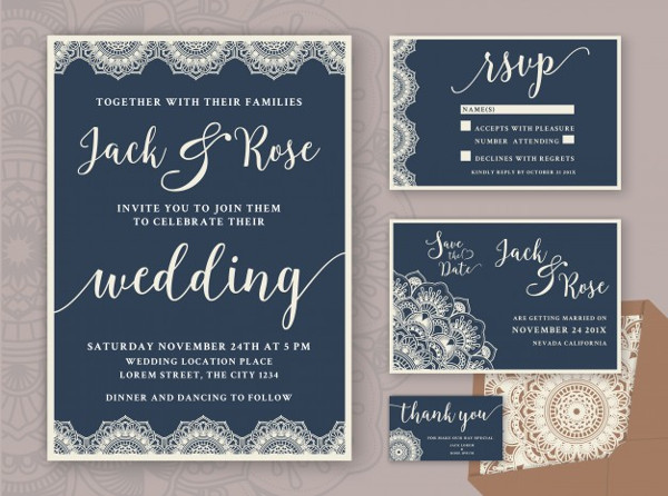 Rustic Wedding Invitation Design Template Free