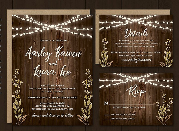Rustic Wedding Invitations Set