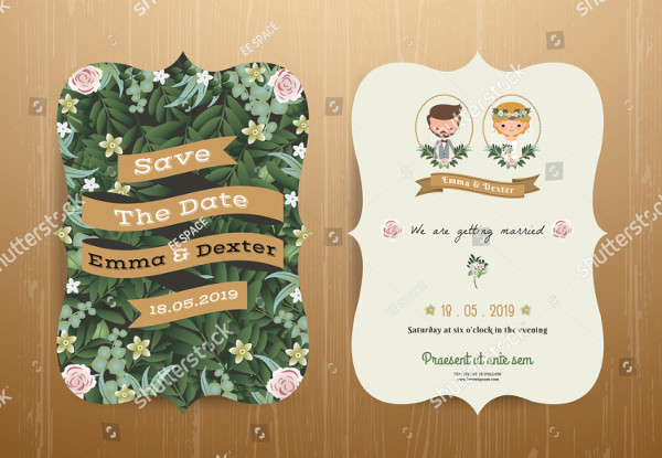Rustic Wedding Invitation Card Cartoon Bride