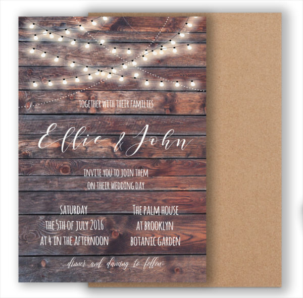 Rustic Vintage Wedding Invitation on Wood Background