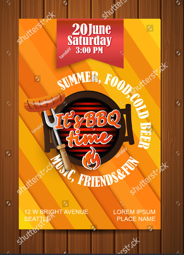 BBQ Grill Flyer Typographical Design