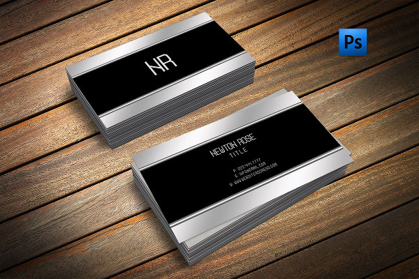 Silver Metal Finish Business Card Template