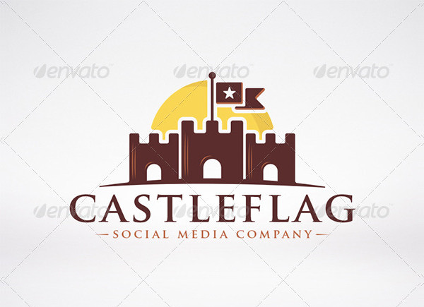 Simple Castle Flag Logo Template