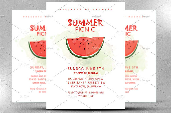 Summer Picnic Invitation Flyer Template