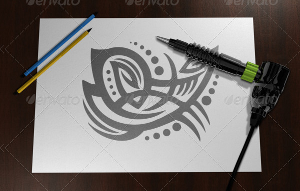 Simple Tattoo Sketch Mock-Up PSD
