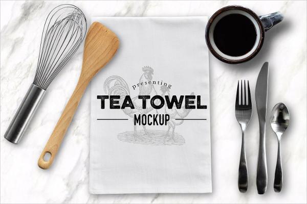 Tea Dish Towel Presentation Mockup