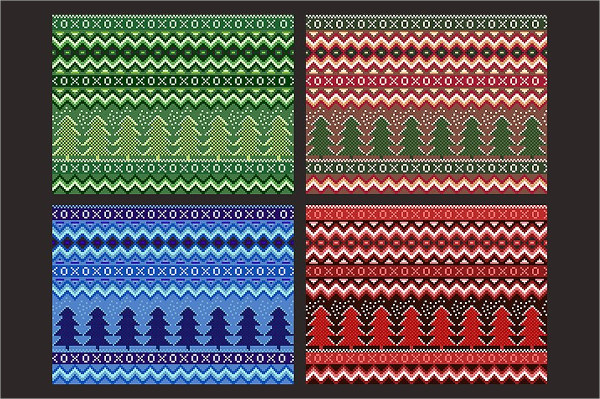 Vector Pixel Seamless Winter Holiday Patterns