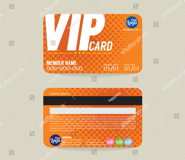 VIP Member Card Template Vector Illustration