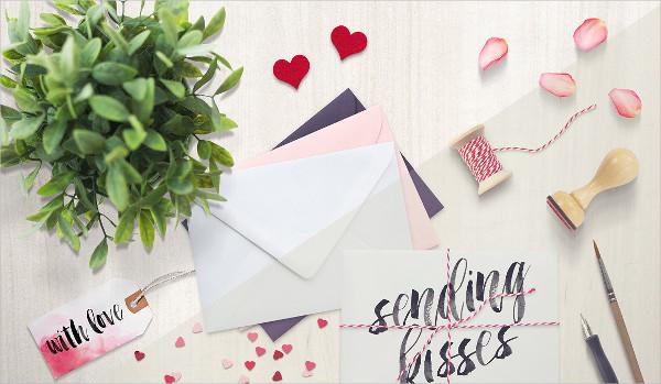Valentines Mockup of Envelopes Photoshop