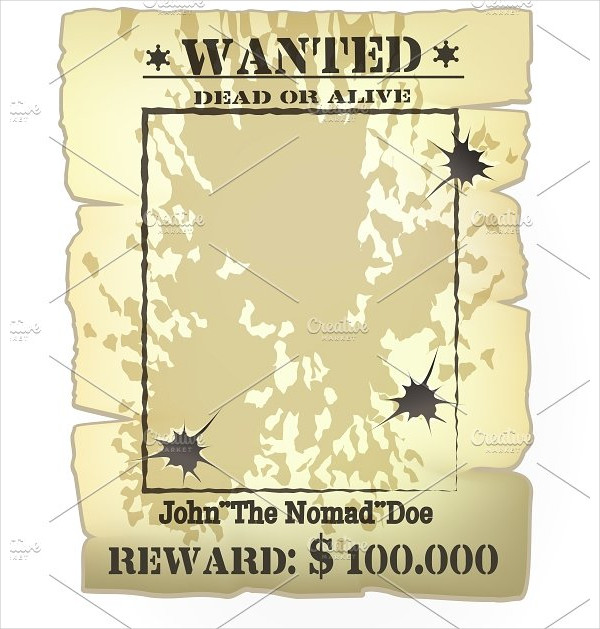 Vector Vintage Western Wanted Poster Frame