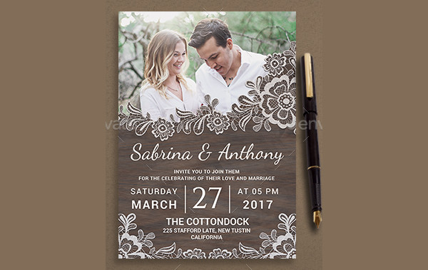 Rustic Lace Wedding Invitation Template