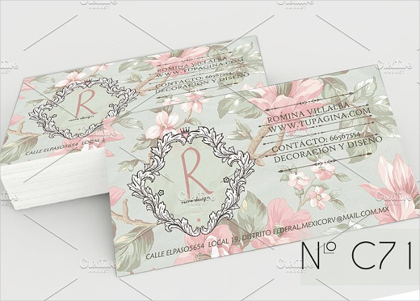 Vintage Pink Flowers Business Card