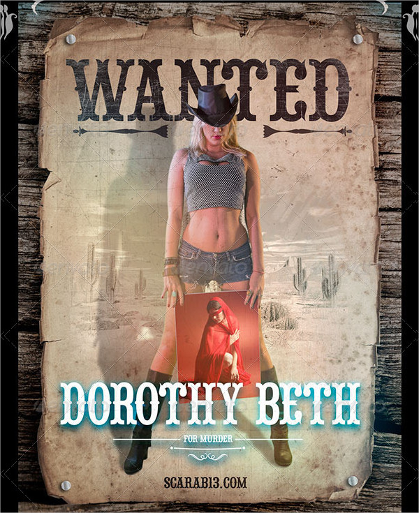 Wanted Posters With 5 Cowgirl Image Holders