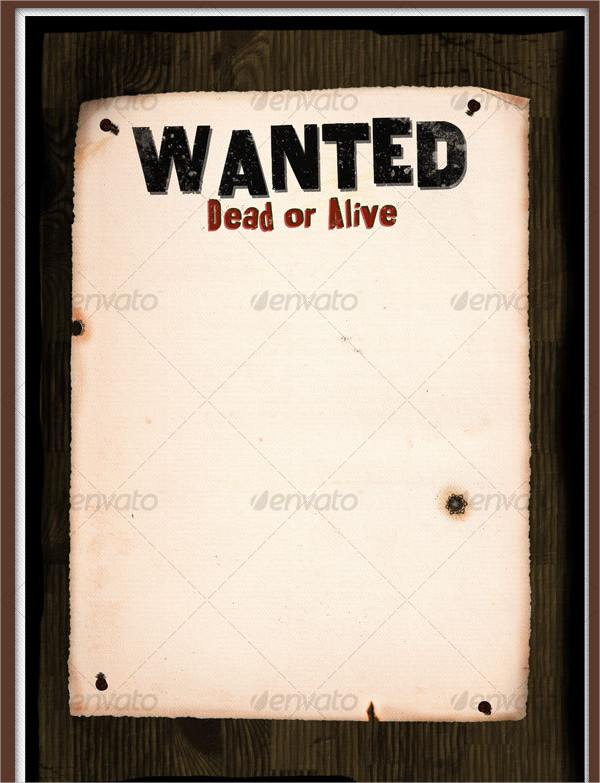Western Wanted Poster On Wood Wall