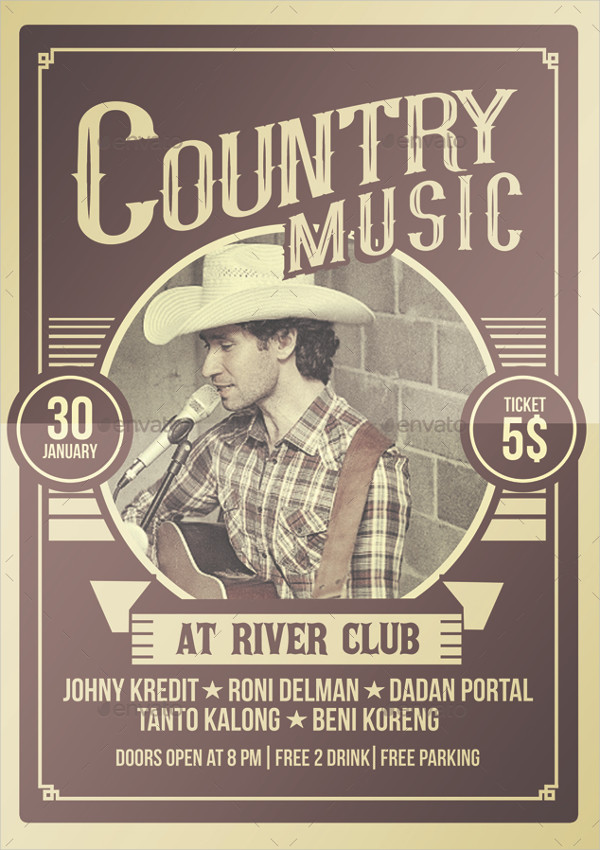Western Country Music Poster Template