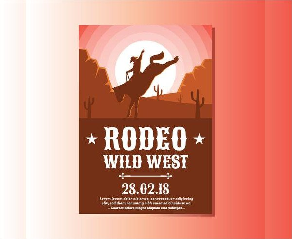 Wild West With Cowboy Rodeo Show Flyer Templates Free