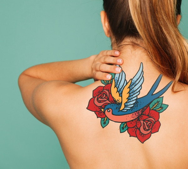 Woman Mockup for Tattoo Art on Back Free PSD