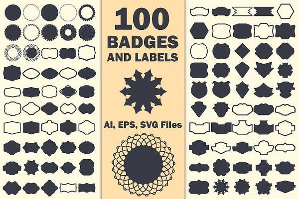 100 Label Shapes Vector Designs