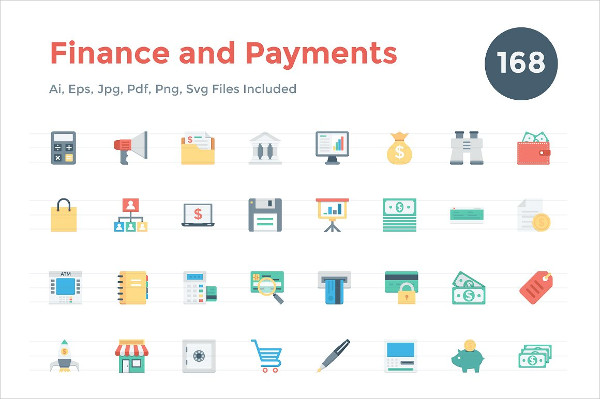 150+ Flat Finance and Payments Icons