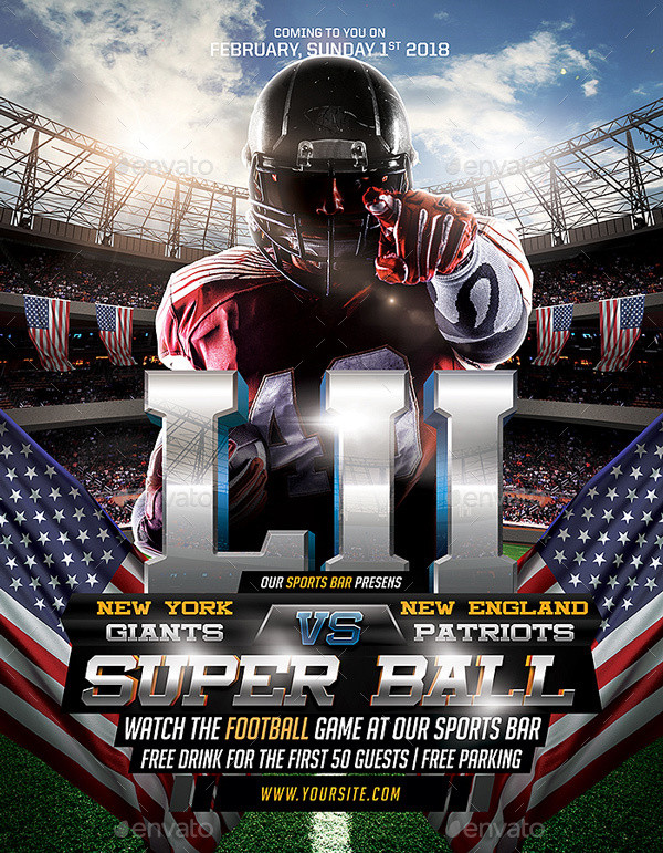 American Football Poster PSD Template