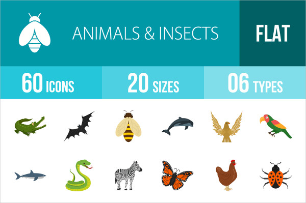 Animals & Insects Flat Multicolor Icons