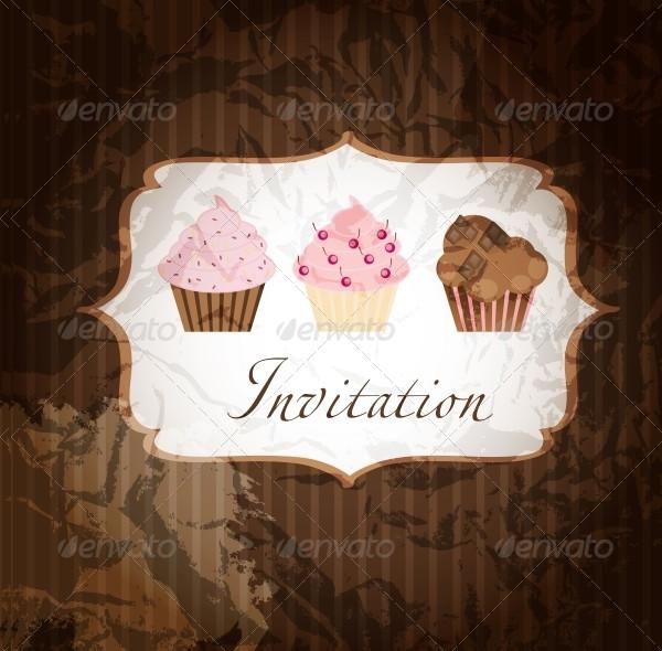 Unique Cupcake Invitation Template