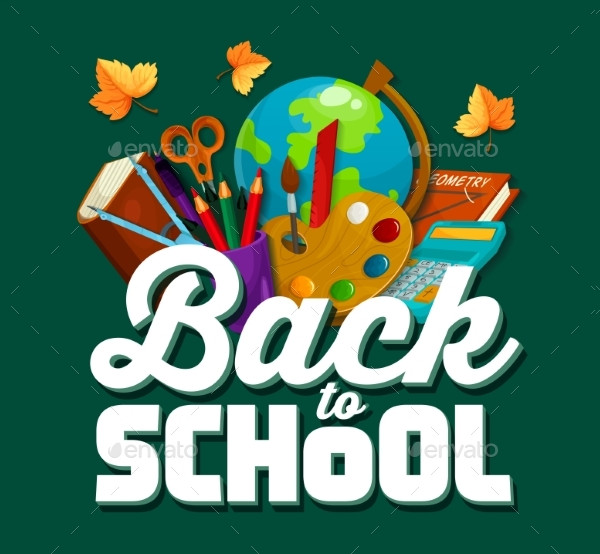 Back To School Vector Chalkboard Poster Template