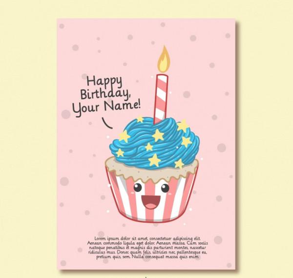 Birthday Card of Nice Cupcake Free Download