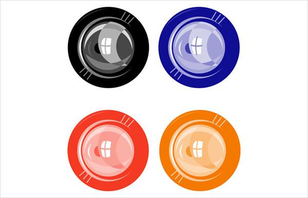 Black Lens Button in Retro Style