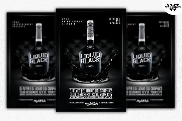 Black Liquid Champagne Flyer Template