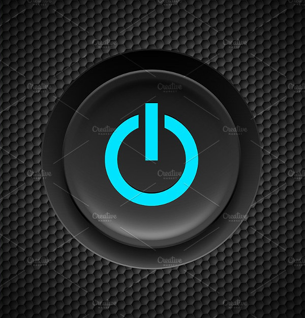 Black Button with Blue Power Sign