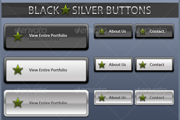 Black Silver Buttons