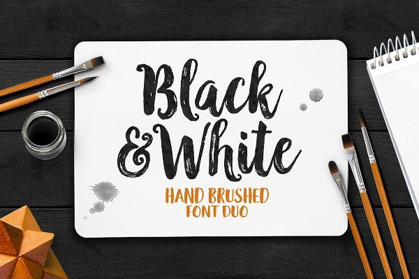 Black & White Hand Brushed Font
