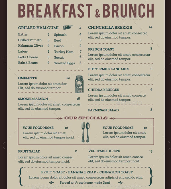 brunch menu template 21 free premium designs download
