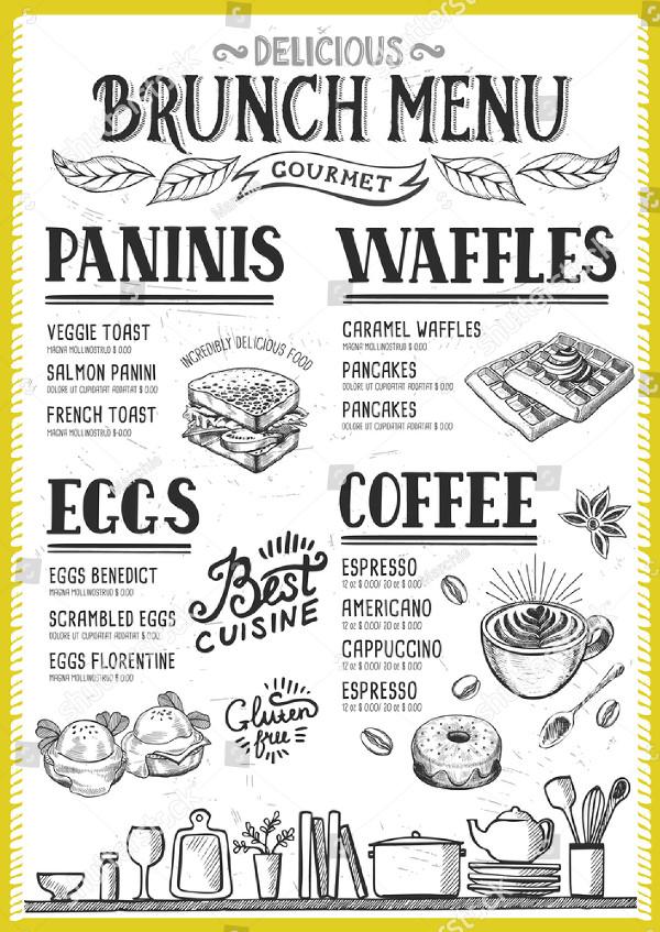Brunch Menu for Restaurant and Cafe
