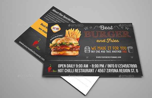 Burger Restaurant Postcard Template