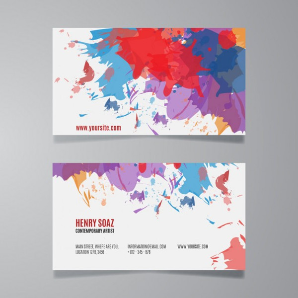 Splash Paint Business Card Template Free Download