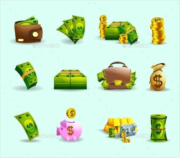 Cash Payment Methods Flat Icons Set