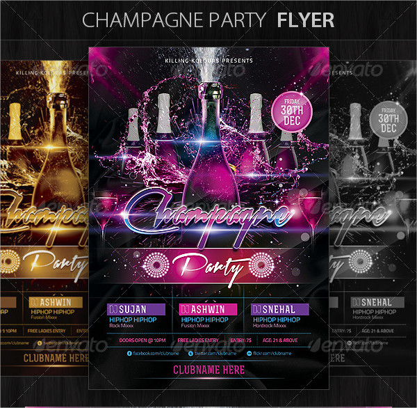 Printable Champagne Party Flyer PSD