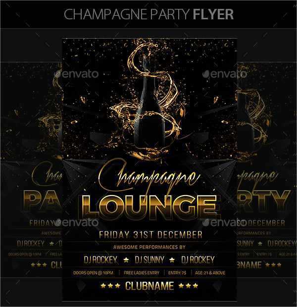 Champagne Summer Party Flyer Template