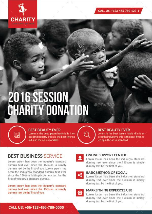 Charity Donation A4 Flyer Template