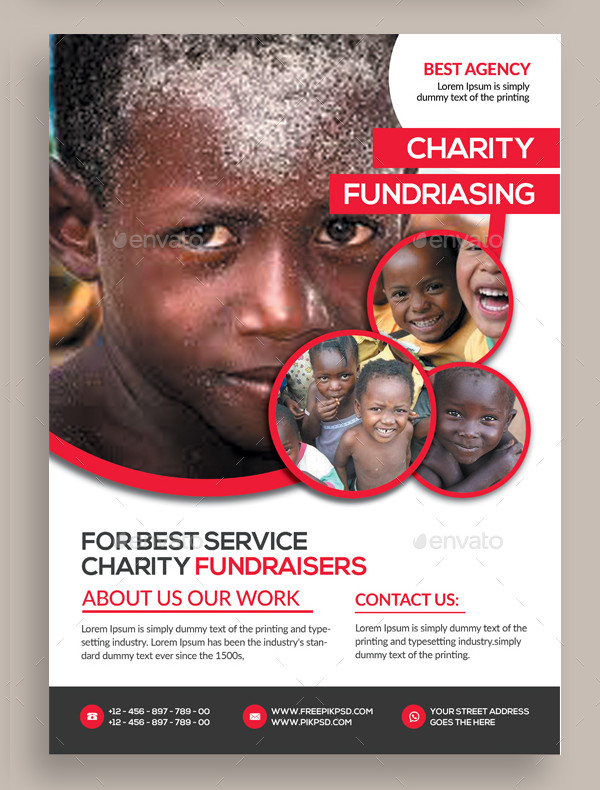 Cool Charity Donation Flyer PSD