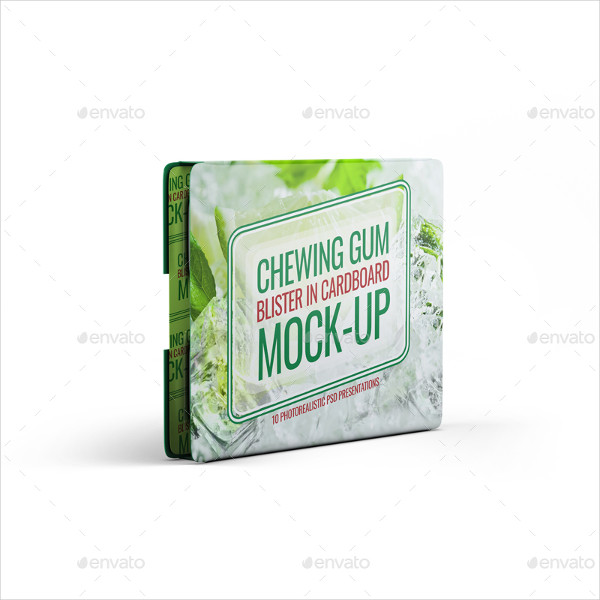 Chewing Gum Blister In Cardboard Mockup