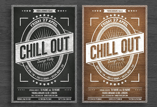 Chill Out Chalkboard Poster Design
