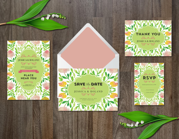Watercolor Marriage Invitation Templates