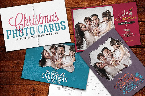 Fully Editable Christmas Photo Card PSD Template